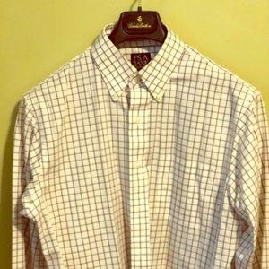 Jos. A. Bank maroon and blue check shirt
